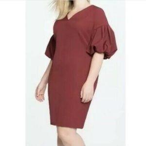Eloquii burgundy ruffle puff sleeve career dress